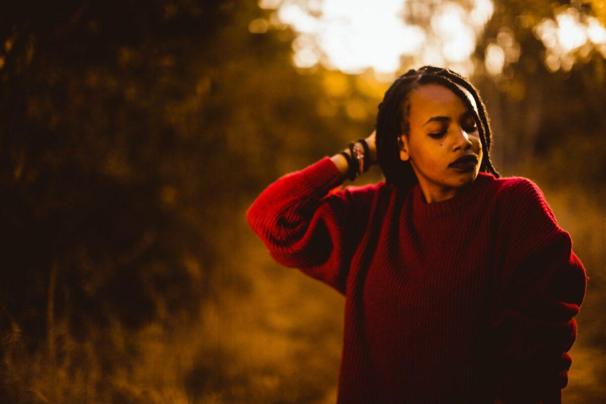 girl looking self reflective